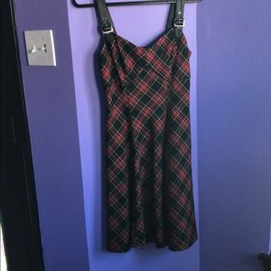 Red plaid sleeveless dress